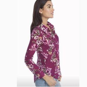 White House Black Market Shirt Top Blouse Floral 0